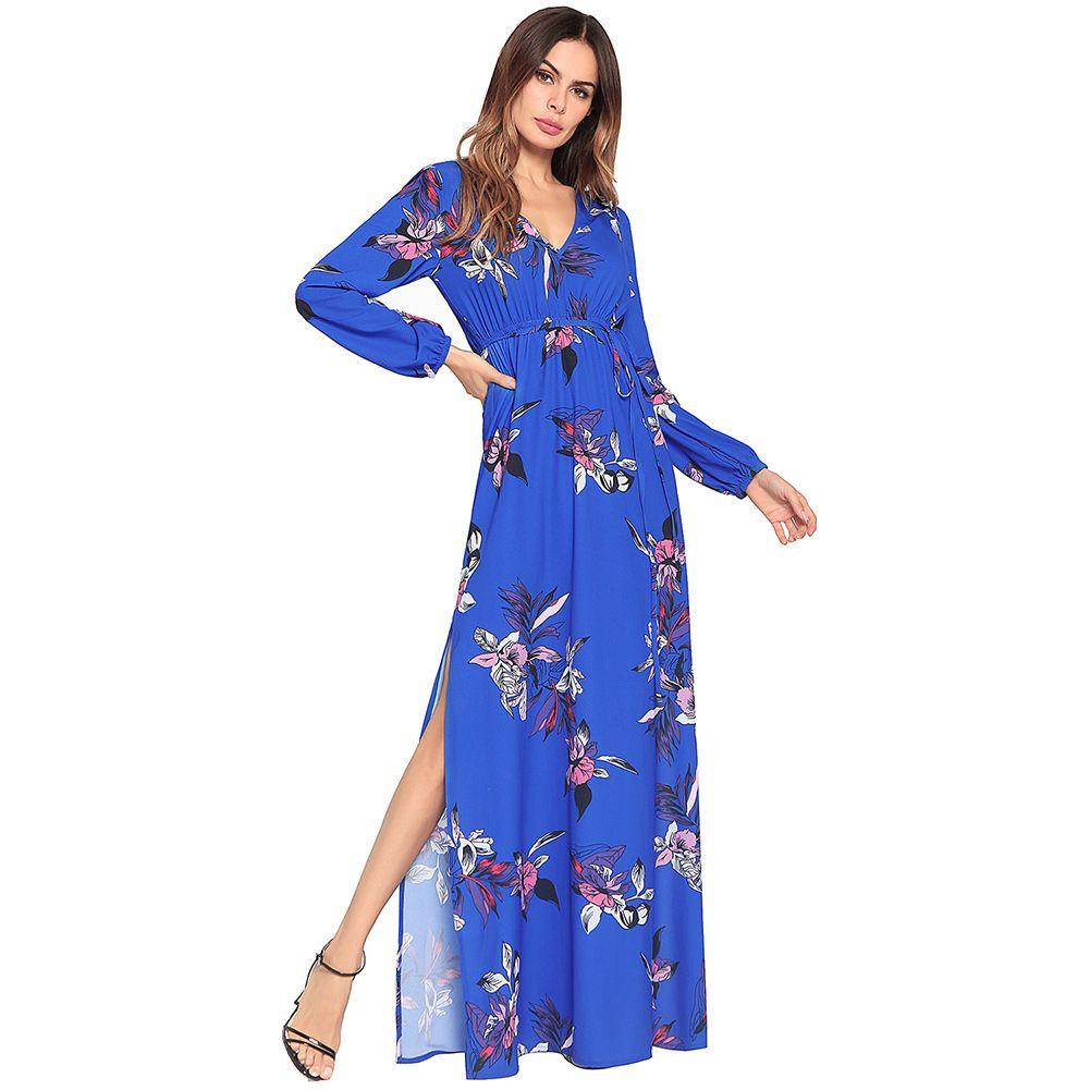 Neuer Stil Top-Qualität Frauen Chiffon Kleid rot Langarm V-Ausschnitt Mode eleganten Druck lange Böhmen Kleid Maxi Sexy Kleid S M L XL 2XL