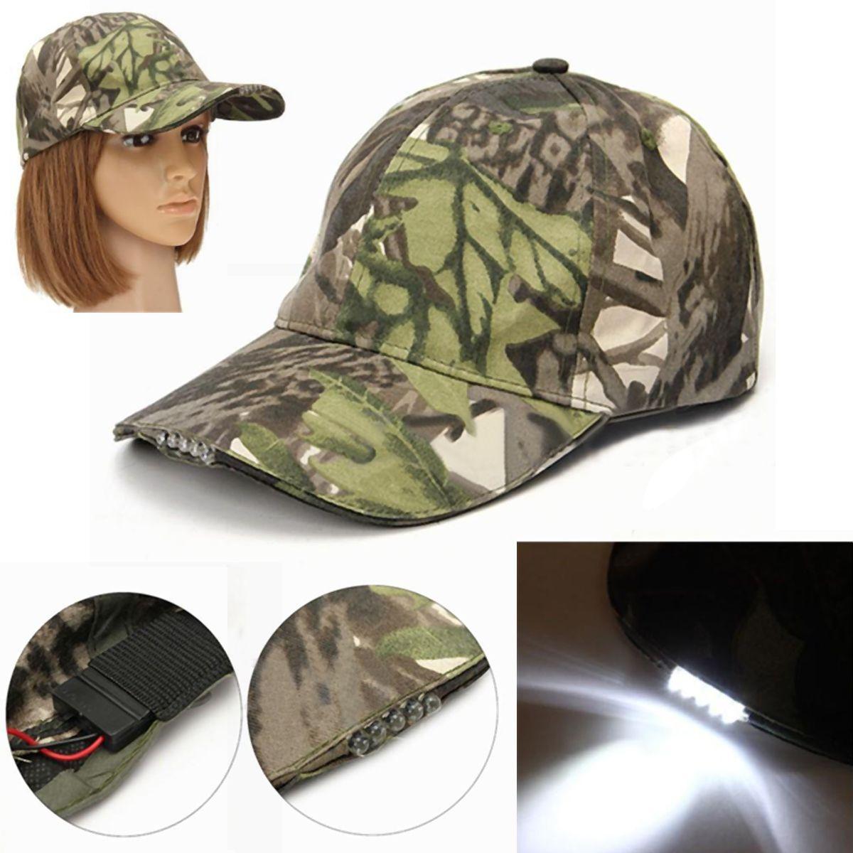 ac6629fac Hiking Camping Fishing 5 LED Light Adjustable Strap Baseball Cap Hat  Camouflage for Fishing Walking Hat