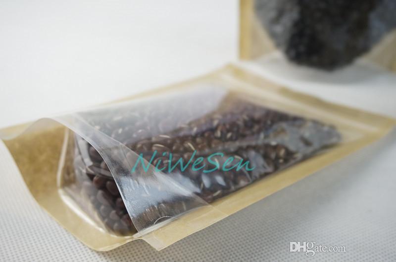 100 adet / grup 14x20 cm stand up translucence kahverengi kraft kağıt kilitli torba, susam ambalaj kağıt gıda kılıfı fermuar klip mühür, tekrar kapatılabilir çuval