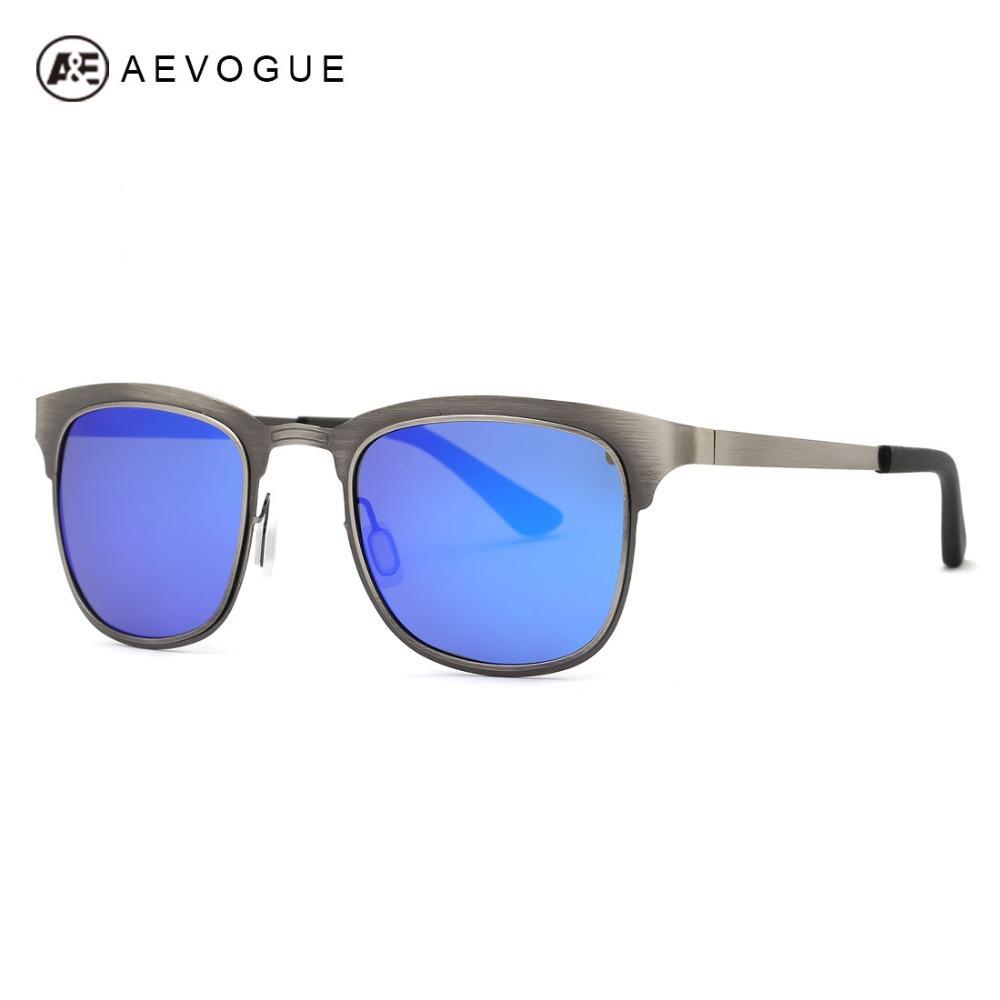 609f77340d AEVOGUE Polarized Sunglasses Men Stainless Steel Frame Summer Style Luxury  Brand Design Mirror Eyewear With Box UV400 AE0439 Eyewear Designer  Sunglasses ...