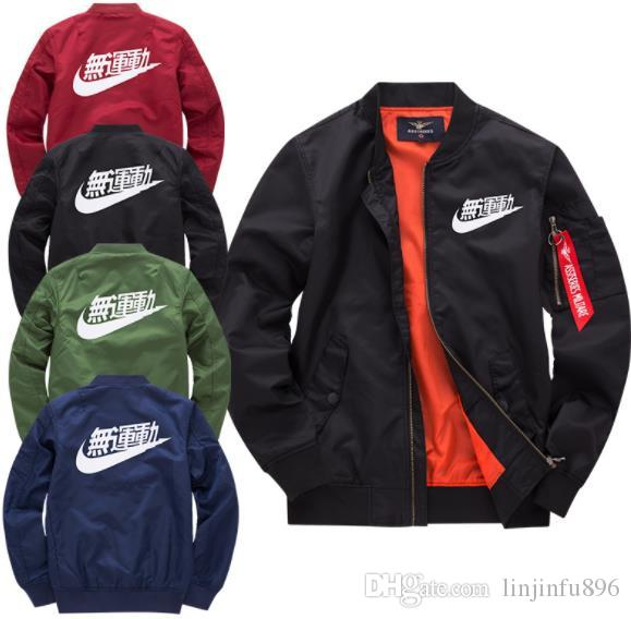 79158afd82c7 NIKE Us Bomber Pilot Jacket Men Patches Bomber Jacket Men Army Color  Chinese Letter Printed Flight Jacket Man Ma 1 Coats Jackets Mens Open  Jackets From ...