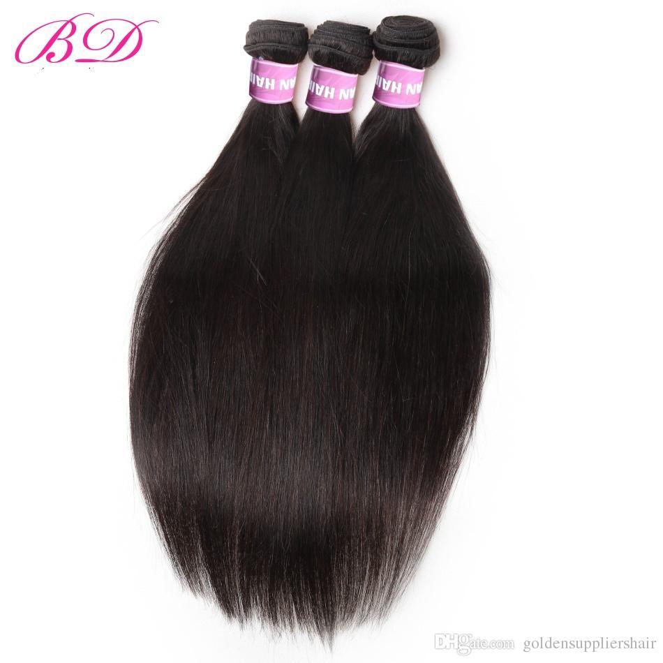 Nuove estensioni diritte dei capelli umani di estensioni dei fasci Tessuto vergine peruviano dei capelli del visone con il regalo le donne nere