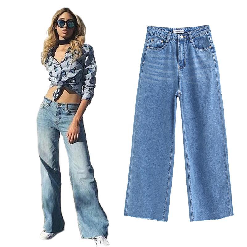 2875b334b6 Compre Las Mujeres De Cintura Alta Pantalones Anchos De Mezclilla Jeans  Para Mujeres De La Señora De La Vendimia De La Moda Floja Pantalones Llenos  ...