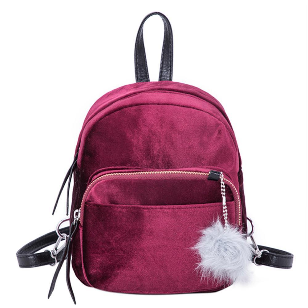 98c75a5d19 2018 New Women Soft Velvet Backpack For Teenager Girls School Bookbag Female  Small Travel Backpack Mujer Bolsos Elegant Best Backpacks Girls Backpacks  From ...