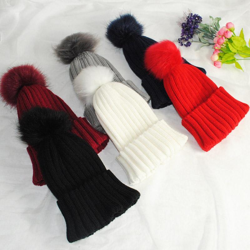 e62b5c3004b Fashion Women Faux Fur Ball Cap Pom Poms Winter Beanie Hat Knitted Warm Caps  New Cute Beanies Red Beanie From Huteng