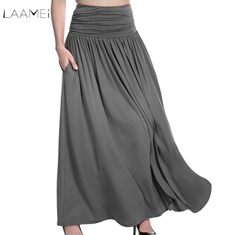 1f7b2f8e5 LAAMEI tallas grandes mujeres cintura alta faldas maxi Casual color puro  acampanado largas faldas plisadas vintage con bolsillo suelta falda sólida