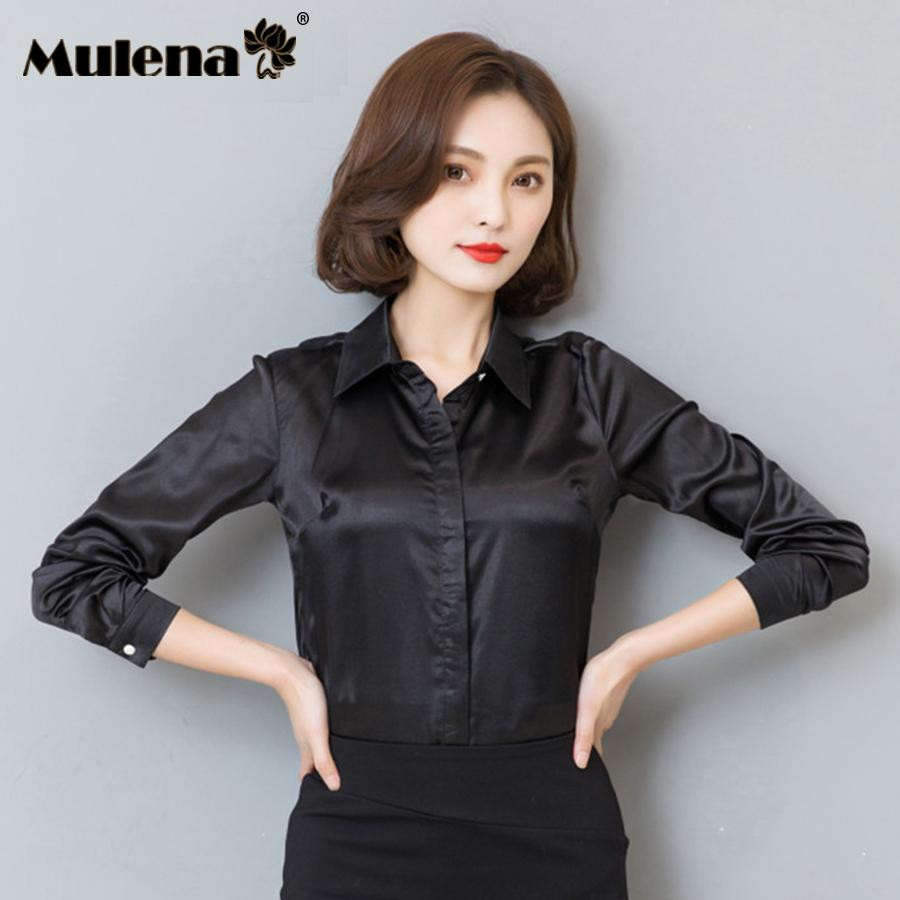 bf0a06a88bf 2019 Shirts Ladies Office Work Elegant Female Silk Satin Blouse Button  Lapel Long Sleeve Shirts Women High Quality Blouses Plus Size From  Guocloth, ...