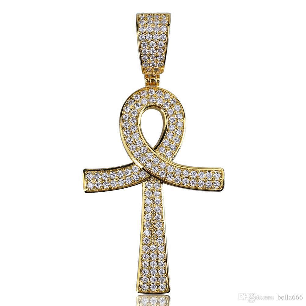 Fashion Hiphop Ankh Cross Pendant Necklace Gold Silver Color Iced Out Cubic Zirconia Stone Necklaces With Rope Chian Rapper Jewelry