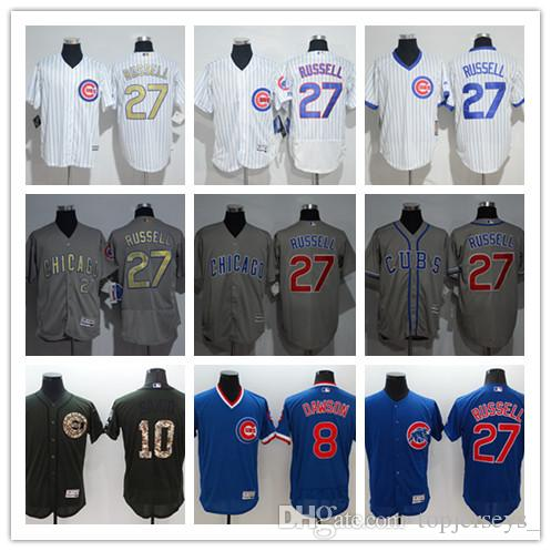 3c3da3298a2 2019 Custom Men Women Youth Majestic Cubs Jersey  8 Andre Dawson 10 Ron  Santo 27 Addison Russell Home Blue Grey White Baseball Jerseys From  Tenplus