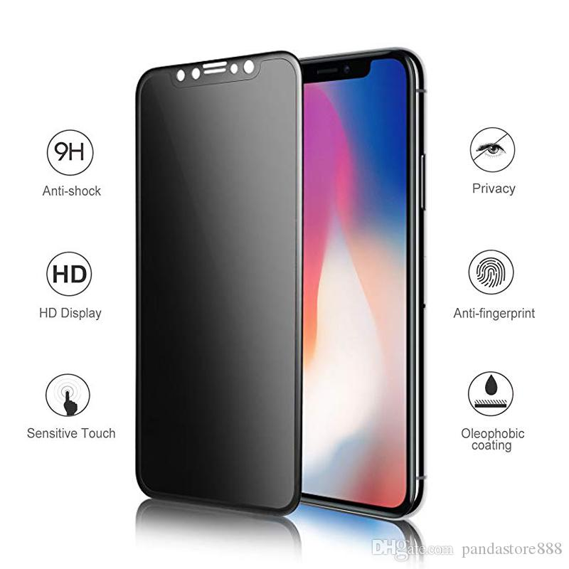 top fashion 48e28 84d22 Privacy Screen Protector for iPhone X XS Max XR Full Cover Tempered Glass  Anti Spy for iPhone 6 6S 7 8 Plus