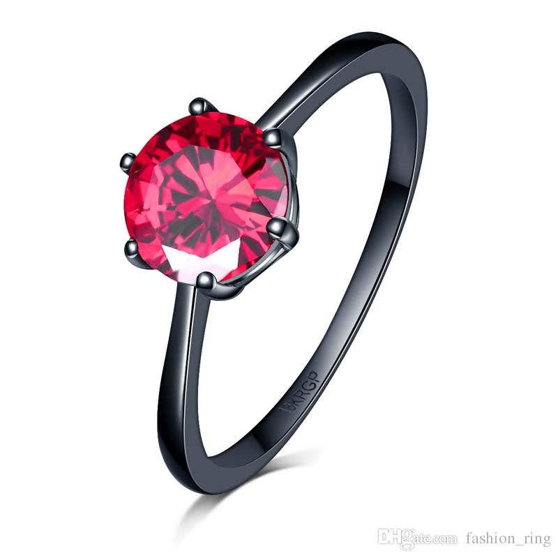 High quality wholesale Antique Zircon ring in Purple /green/red color 7mm with 6 paw stud ring Black Gold Filled lover's ring for women 1745