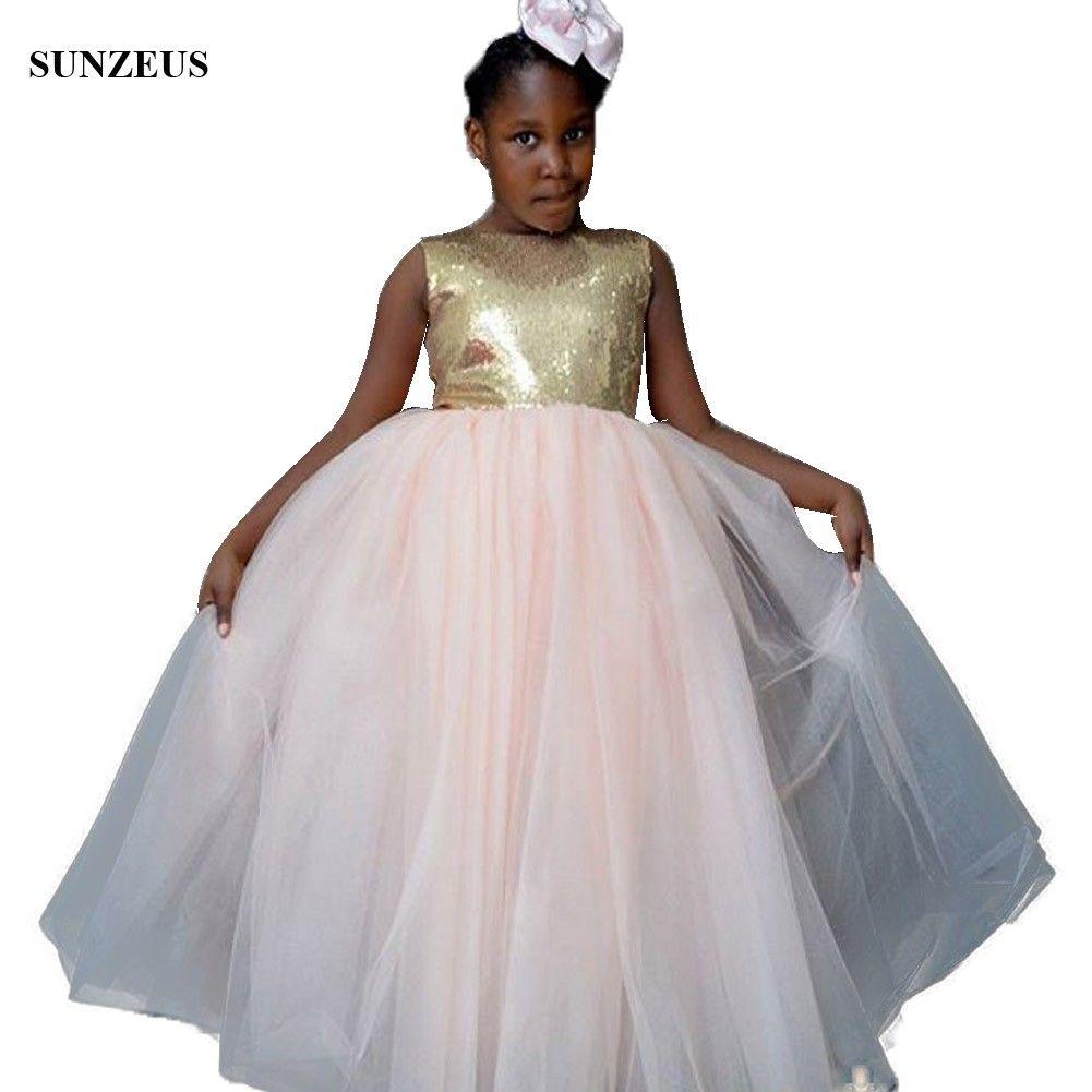 f6d0f3d8785 Gold Sequins Bodice Long Pink Girls Formal Dresses African Chidren Party  Dress A Line Sleeveless Kids Formal Wear White Flower Girl Dresses Cheap  White ...