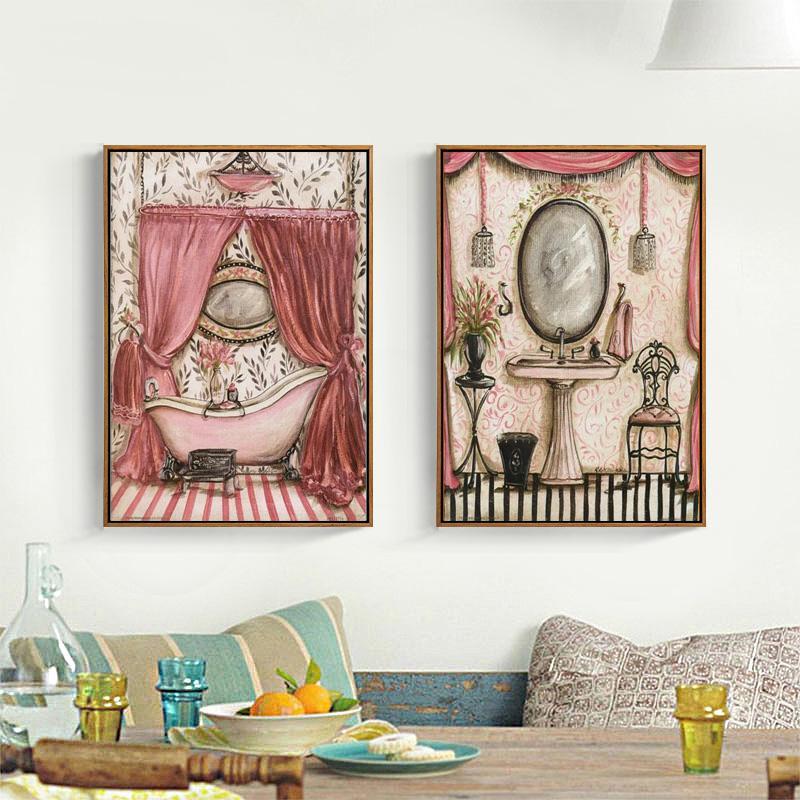 Pastoral Bathroom Bath Shower Curtain Canvas Printings Oil Painting