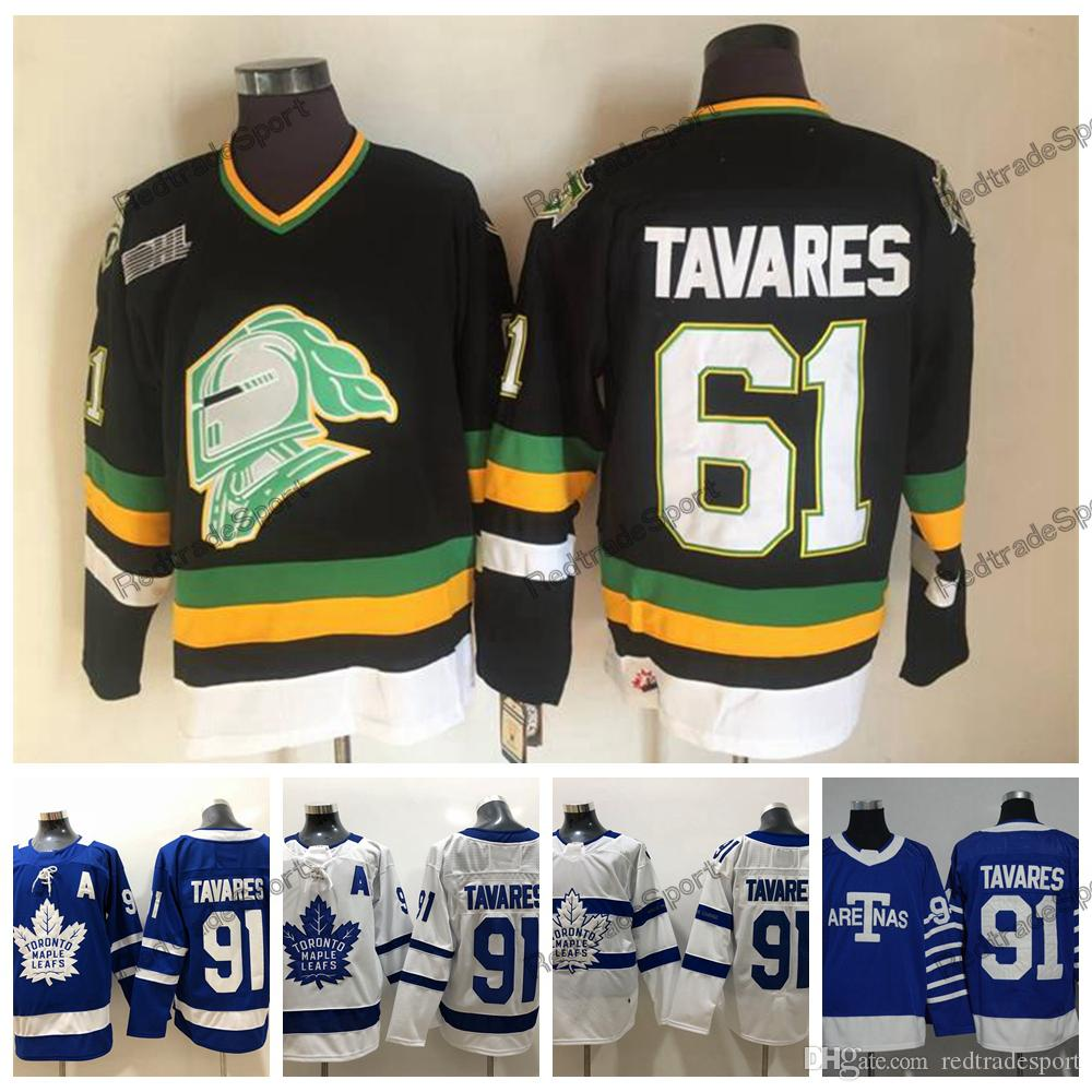 outlet store 7a52a c44bc Vintage LONDON KNIGHTS OHL 61 TAVARES Hockey Jerseys Cheap Blue Toronto  Maple Leafs TAVARES Hockey Shirts A Patch