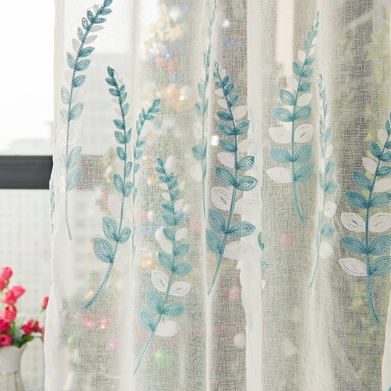 2019 Pastoral Blue Leaves Embroidery Curtains Tulle Window Curtain ...