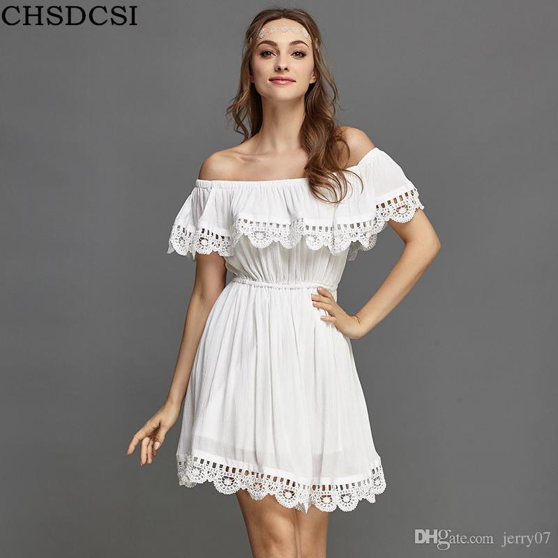 59edfd061252 Acquista Moda Donna Elegante Vintage Dolce Pizzo Abito Bianco Elegante Sexy  Slash Collo Casual Spiaggia Sottile Vestito Estivo Vestidos A  5.59 Dal  Jerry07 ...