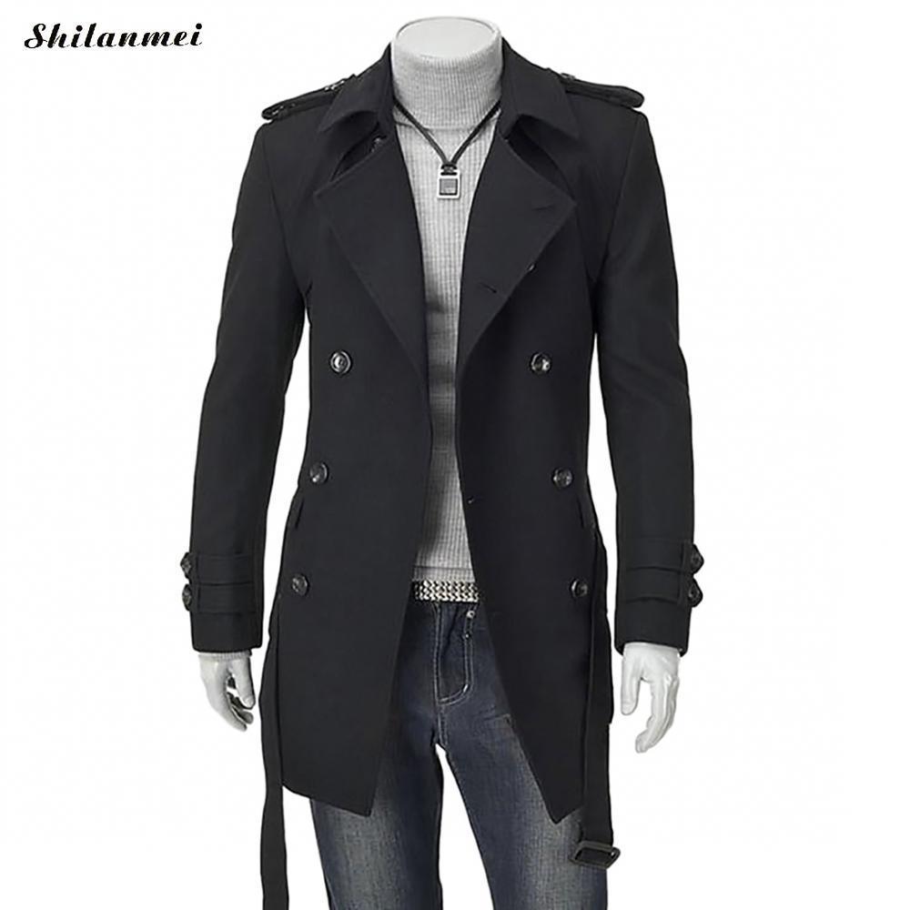 2019 Winter Trench Coat For Men Black Mid Long Coats With Belt Suit