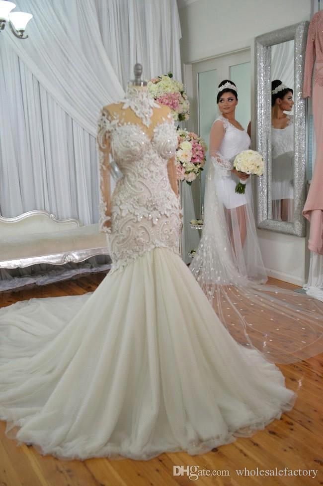Azzaria Haute Sheer lange Ärmel Brautkleider 2018 Illusion Nigeria High Neck Appliqued Perlen Dubai Arabisch Schloss Meerjungfrau Hochzeitskleid