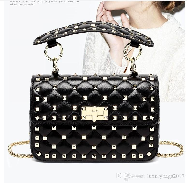 Motorcycle style sheep leatehr women leather shoulderbag corss boday bag with chain and rivets hot selling and fashionable in 2018