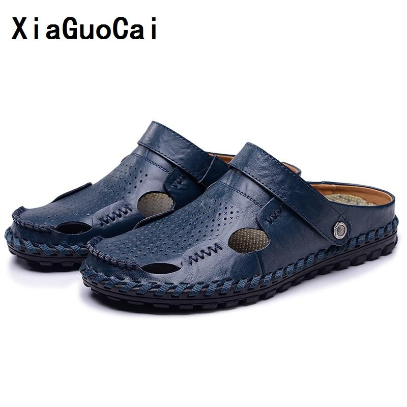 8dc837e9282 Compre Xiaguocai Sandalias De Hombre Zapatillas De Cuero Genuino De Piel De  Vaca Masculina Zapatos De Verano Sandalias De Cuero Al Aire Libre Al Aire  Libre ...