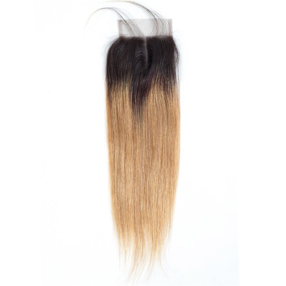 Cheveux indiens pré-colorés 3 paquets avec fermeture 1b 27 cheveux blonds tout droit lisses tissent des paquets avec fermeture 100% cheveux