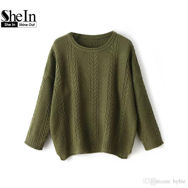 2b91f588e1 2019 Wholesale SheIn Casual Knitted Sweater Autumn Winter Short Pullover  Women Tops O Neck Drop Shoulder Side Slit Cable Knit Jumper From Bybie, ...