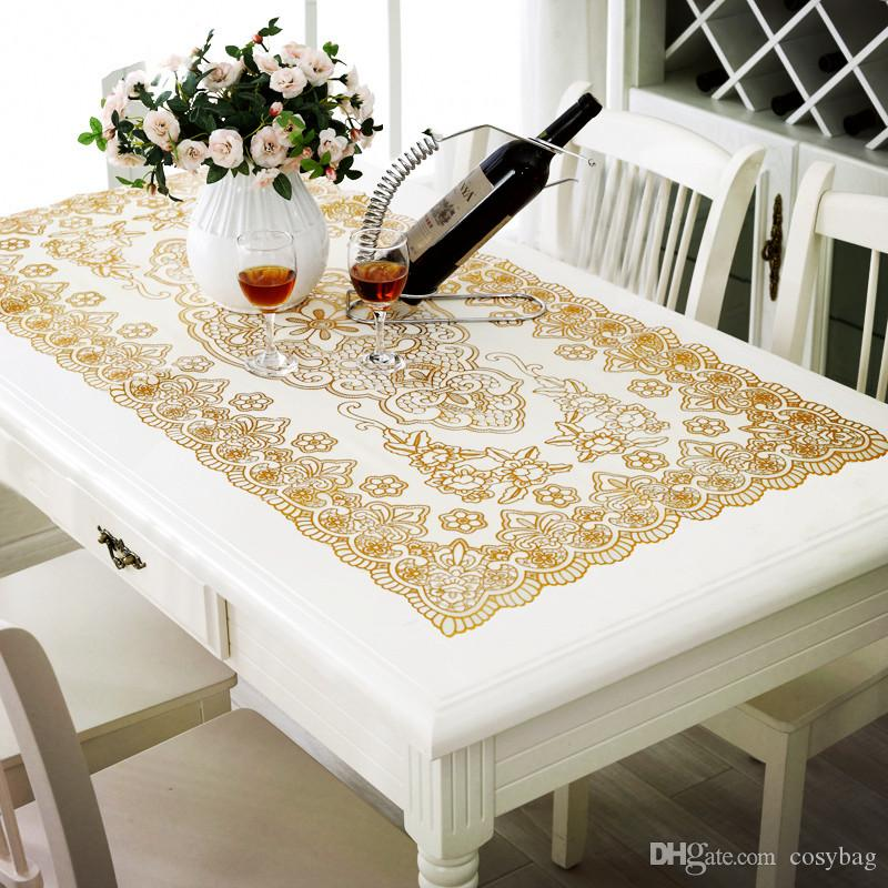 Embroidered Lace Small Coffee Table Tablecloth Rectangular Gold