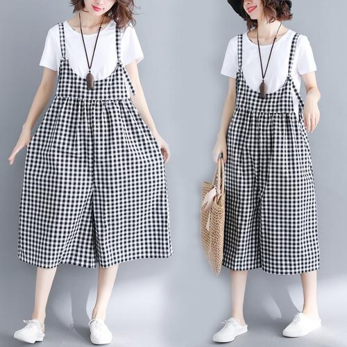 25930f7ebad 2019 Artistic Plus Size Women Jumpsuit Black And White Plaid Loose Cotton  Linen Jumpsuits Preppy Style Strapless Overalls For Women From Flowter