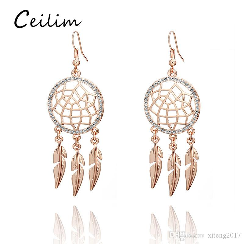 40 New Arrival Hollow Dream Catcher Earrings Women's Gold Plated Extraordinary Dream Catcher Earrings Online