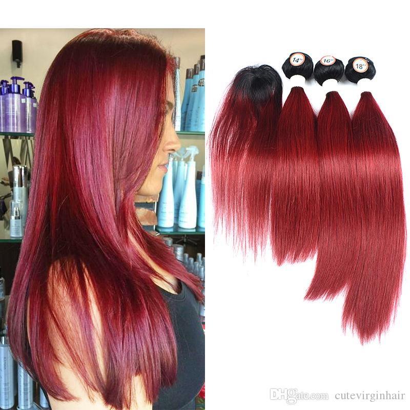 2018 Burgundy Wine Red Straight Hair Extensions Ombre Human Hair 3