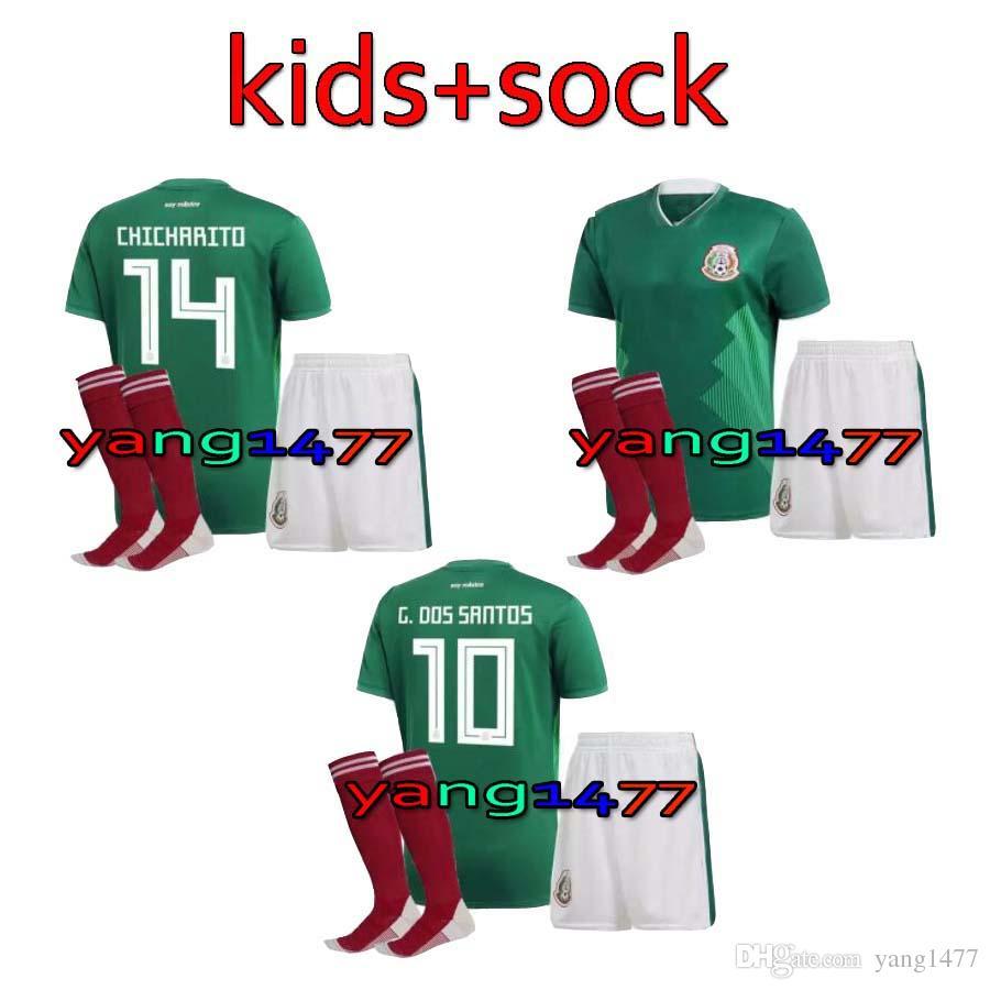 17 18 Niños Copa Del Mundo Camiseta De Fútbol Kits México Casa Verde  Chicharito M Fabian G Dos Santos 2017 2018 México Lejos Niño Blanco Camiseta  De Fútbol ... be10d5aa52604
