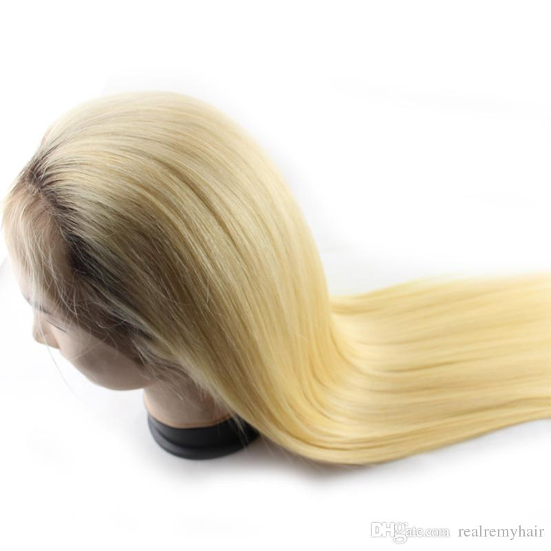 Brazilian Ombre Pre Plucked Lace Front Human Hair Wigs 150% Density Brazilian 1B/613 Honey Blonde Straight Lace Front Wigs With Baby Hair