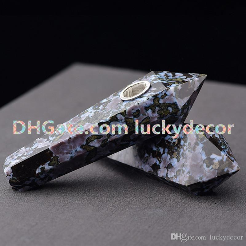Superb Quality Hand-Crafted Snowflake Obsidian Healing Spiritual Stone Pipe Natural Obsidian Quartz Gemstone Point Tobacco Pipe Special Gift
