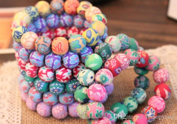 Hilos de cuentas Moda 12mm Polímero Arcilla Redondo Bead Beads Pulseras