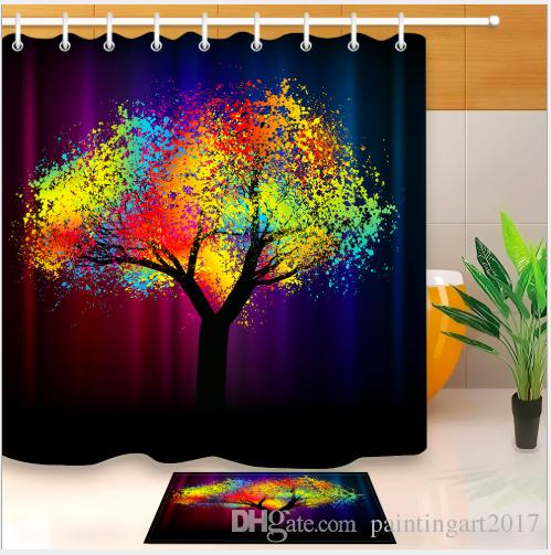 2019 Creative Trees Decoration Bath Curtain Colorful Watercolor Spring Life Tree Shower Mildew Resistant Fabric For Bathroom Mats From