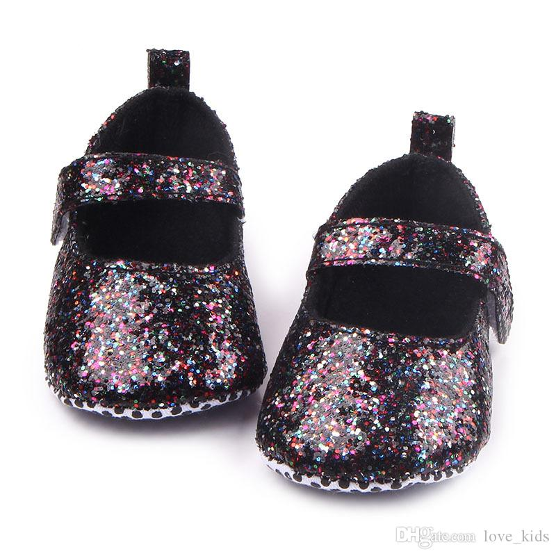 Fashion cute Bling sequin baby shoes toddler kid girl bowknot princess walking crib shoes baby first walkers