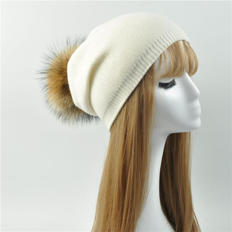 e0ce256b387 Wholesale Real Raccoon Fur Pom Pom Knitted Hat Women Beanies Cashmere  Winter Hat Female Girl Cotton Skullies Wool Beanie Baby Hat Crochet Baby  Hats From ...