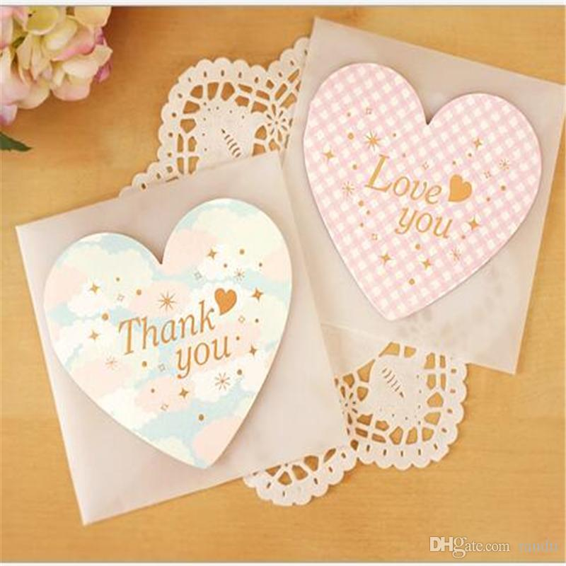 Wholesale Heart Message Card With Envelopes Festive Birthday Greeting Cards Wedding Event Party Supplies Favors Decoration B Cool