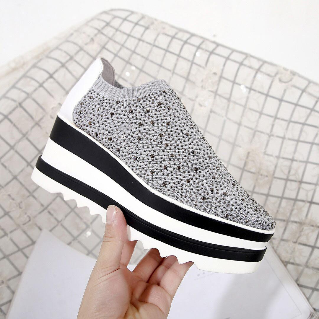 02398e3d2b2a The European Station Platform Shoes Slip-on Diamond Diamond Thick ...