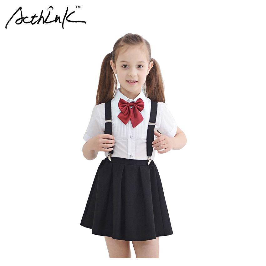 ab2de280acf 2019 ActhInK New Girls Summer Wedding Skirt   Shirts Set With Bowtie Brand  Formal Teenager Girls School Uniform Children Suit