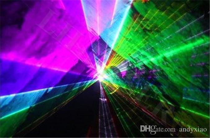 blanco Violeta Amarillo DMX DJ de la luz de la etapa del disco de la luz laser ILDA 3000mW Rojo Verde azul rosado
