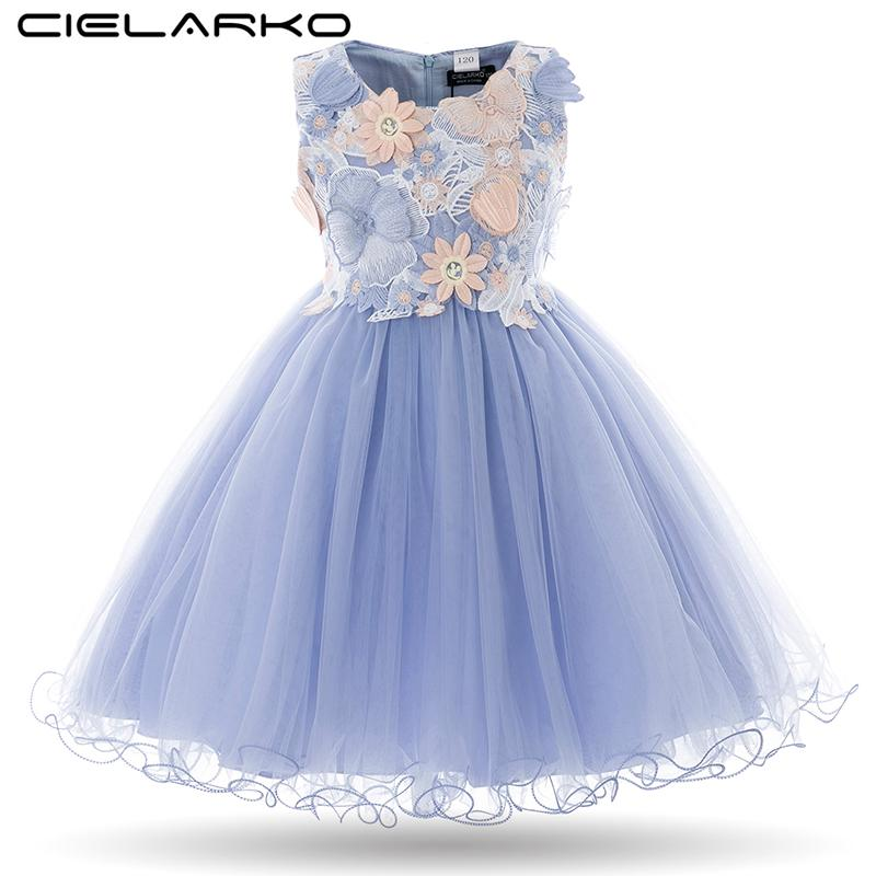 1a310ada794 Cielarko Kids Girls Flower Dress Baby Girl Butterfly Birthday Party Dresses  Children Fancy Princess Ball Gown Wedding Clothes Girls Flower Dress Party  ...