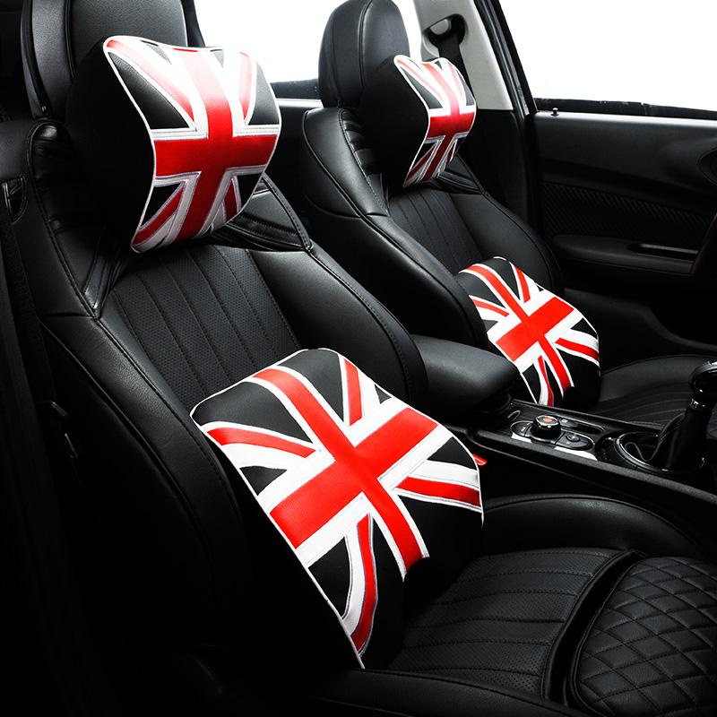 Union Jack Styling Car Seat Waist Support Cushion PU Leather Auto Neck Pillow Rest Headrest Pad Universal For BMW Mini Cooper One JCW Heated