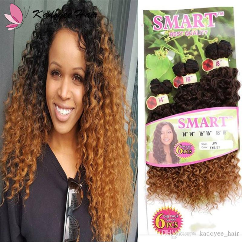Curly Human Hair Extensions 14 18inch One Pack Full Head Omber Color