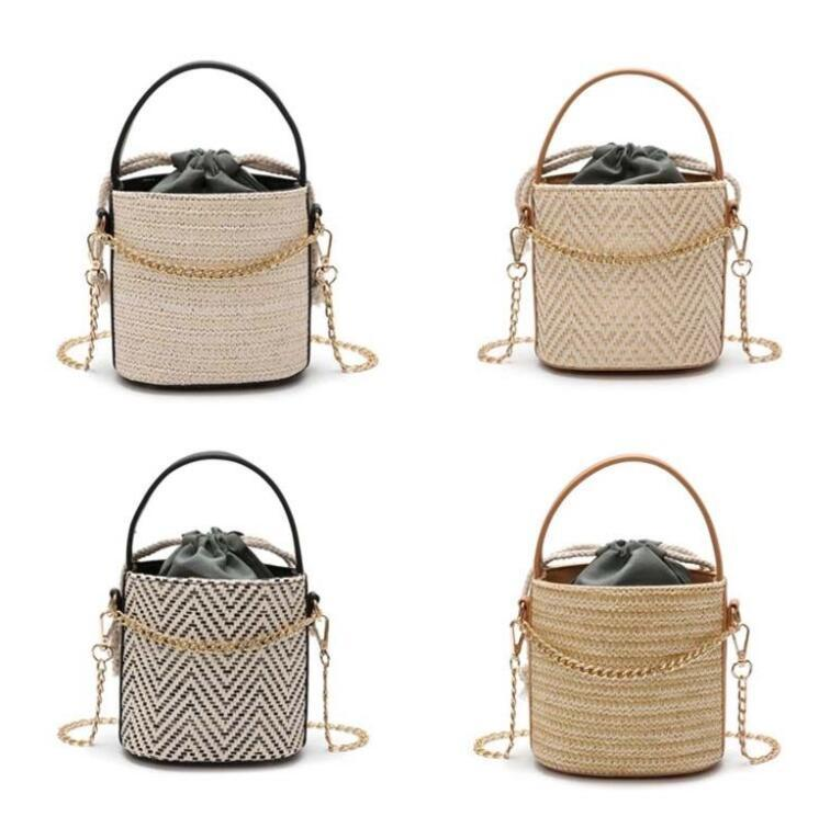 Summer Round Rattan Handmade Bag Bohemian Straw bucket Drawstring Women Shoulder Bag Cross body Chain Beach Bags KKA5654