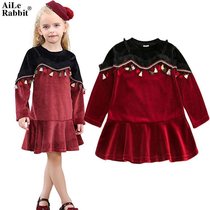 c310c61c0 2019 Baby Dress Aile Rabbit New Girls Dress Long Sleeves Velvet ...