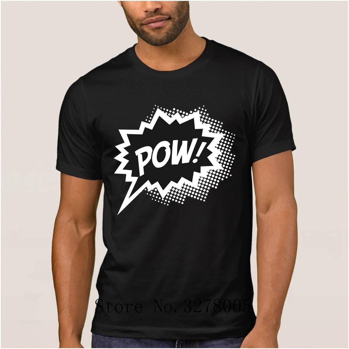 Pow Tee Fun Regalo Speech Cartoon Summer Shirt Bubble Comic Superhéroe Hombre Cotton Camiseta Streetwear Crazy Style lF1K3cTJ