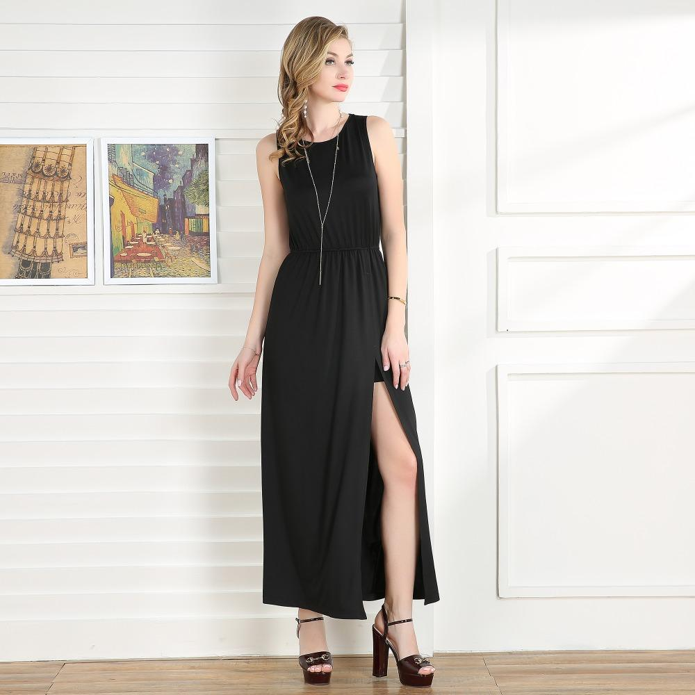 87113327503 2019 2018 Maxi Dress Women Summer Casual Black Sleeveless O Neck Vintage  Split Long Dresses Backless Party Dress Plus Size Talever From Modleline