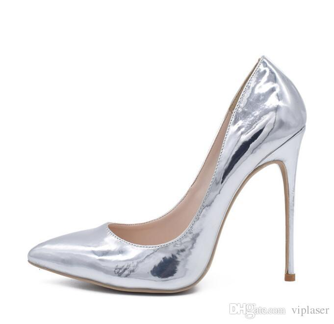 fashion 2018 new Women Black Sheepskin Nude Patent Leather Poined Toe Women Pumps,Fashion Bottom High Heels Shoes for