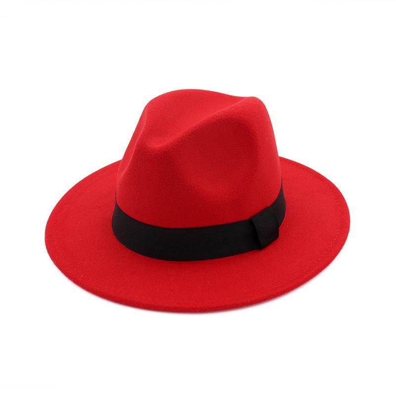 68739bc7b7895 Compre Sombrero Ancho De Panamá Sombrero De Fieltro De Panamá Sombrero De  Lana Hombres Mujeres Vestido De Ala Ancha Sombrero De Fedora Unisex Sombrero  De ...